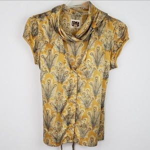 Free People Feather Design Silk Top